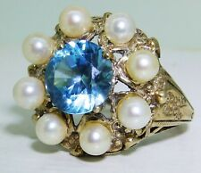 Carat Yellow Gold Size M 1/2 1966 Vintage 9Ct Blue Zircon Pearl Cluster Ring 9