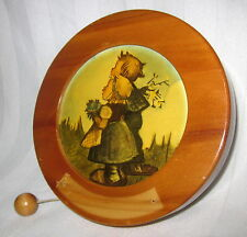 """REUGE PULL STRING VINTAGE MUSIC BOX 5 1/2"""" WALL HANGING ANNIVERSARY WALTZ"""