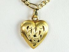 Genuine 14k gold filled 13x13mm heart locket pendant 18 inches chain necklace