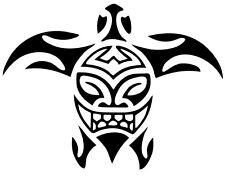 A tribal sea turtle vinyl cut sticker or decal that is matte black.