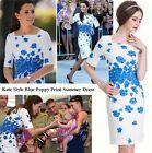 Bleu Poppy Imprimé Floral Robe En Soie Vacances Plage Blanc Taille 8 10 12 14 16