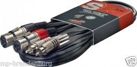 Adapter Kabel 2 x Cinch auf  2 x XLR  female -3m - Cinchstecker aus Metall