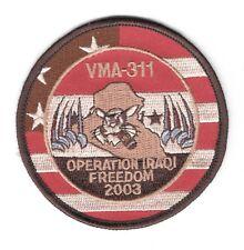 """USMC Marine patch:  Attack Squadron 311, VMA-311 Iraqi Freedom 2003 (tan) 3 1/4"""""""