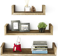 Floating Shelves Wall Mounted, Solid Wood Wall Shelves, Torched Finish