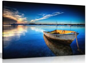 Landscape Blue Boat On Sea & Sky Painting Canvas Wall Art Picture Print