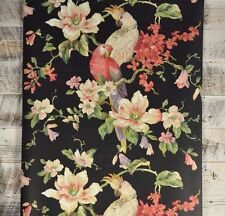 Vintage Victorian Floral and Bird Black Wallpaper White Pink Blue Flower Parrot