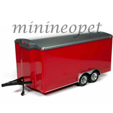 AUTOWORLD AMM1218 FOUR WHEEL ECLOSED TRAILER 1/18 DIECAST RED with SILVER TOP