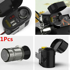 Universal Motorcycle Handlebar Cigarette Lighter Dual USB Charger LED Voltmeter