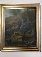 Antique vintage Gilt framed original oil painting Scottish highland moorland