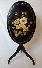 Black Lacquer Tripod Tilt Top Table - Antique Style Floral & Gold Leaf Paintings