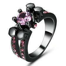 Size6 Women Black Platinum Plated Ring Birthday Mother Daughter Pink Crystal Gem