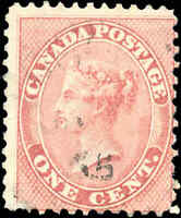 1859 Used Canada 1c F Scott #14b Perf 11.75 x 11.75 First Cents Stamp