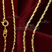 18K GOLD GF SOLID WOMENS WAVE SNAKE SINGAPORE CHAIN NECKLACE for charm pendant