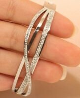 14k White Gold Finish Diamond Swirl Bangle Bracelet 1ct Anniversary Gift