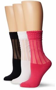3 SET K. Bell Women's Fashion Socks Slim Ruffle Lace Mesh Crew Pink Black White