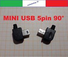 connettore a saldare Mini USB maschio tipo B con custodia 90° nero 5 pin