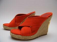 WOMENS Tory Burch Espadrilles RED CANVAS PLATFORM WEDGE HEEL SANDALS SHOES 7.5 M