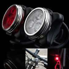 USB Rechargeable Cycling Bicycle Bike 3 LED Head Front Rear Tail light Lamp HOT