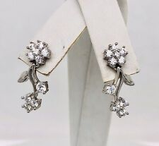 18K Solid White Gold CZ Flower Cluster Dangling Earrings 21 mm