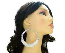 XXXL Huge Hammered Silver Hoop Clip-on Earrings - Transvestite Interest