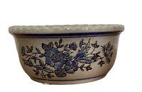 Vtg Crock? Stoneware Pottery Vase Bowl Planter Beige Blue Floral Mid Century