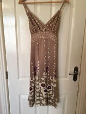 LADIES 'TEDBAKER' IVORY/PURPLE FLORAL SILK DRESS. SIZE 10/TEDBAKER/2. GOOD COND