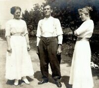 1907 Threesome About to Happen Man and Two Women Real Photo Postcard BB