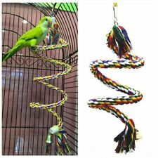 Parrot Bird Cage Hanging Rope Climbing Perch Play Gym Swing Wooden Ladder