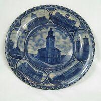 Antique Flow Blue White Souvenir Plate Jacksonville Florida Staffordshire RARE