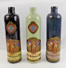 Vintage German Stoneware Bottles - Lot Of Three Different Colored Bottles