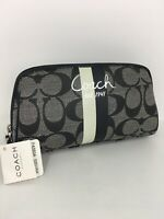 New Coach Cosmetic Bag Chelsea Black White  Heritage Stripe Signature F43504 M4