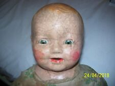 "RARE, ANTIQUE / VINTAGE COMPOSITION 22"" CENTURY BABY DOLL CHUCKLES, EARLY 1900"