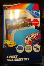 New Childrens Hotwheels Full Size Bed Sheet Set Flat Fitted and 2 pillowcases
