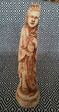 """Vintage Chinese Japanese Lady figurine figure statue holding pot 8"""" Singed RB"""