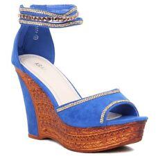 Women Ladies Wedge High Heel Platform Sandals PEEP Toe Faux Suede Party Shoes. UK 5 Blue
