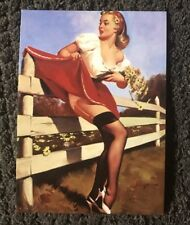 """Sexy Blonde Flowers Pinup girl vinyl skateboard sticker decal 2"""" x 3"""" From US"""