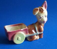 Vintage Donkey with Cart Planter Brown Green Wheels Adorable Figurine
