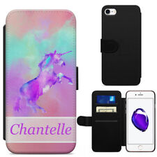Unicorn Cute Pink Teal Purple Watercolors Leather Flip Wallet Phone Case Cover