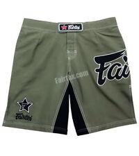 FAIRTEX AB1/P GREEN OLIVE BOARD SHORTS MUAY THAI KICK BOXING MMA BLACK LOGO K1