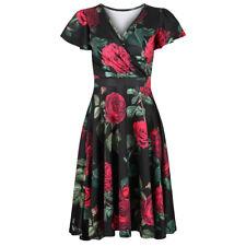 Black Floral Cap Sleeve Crossover Vintage Bridesmaids Party Prom Dress 10-18