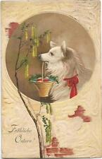 Dogs, Easter, Cute Dog Holding a Basket of Eggs in his Mouth, Old Embossed Pc.