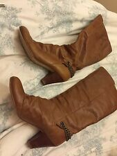 "Dune Tan Pull On Calf Boots 7 Ladies 40 Chain 3"" Heel Leather"