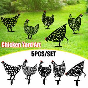 5PCS Chicken Yard Art Outdoor Garden Backyard Lawn Stakes Acrylic Hen Decoration