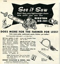 1953 small Print Ad of Henry Disston DO-101 Chain Saw DA-211 Bow Saw