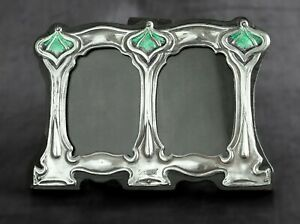 Arts and Crafts Silver Enamel Twin Photo Wooden Frame, William Hutton Design