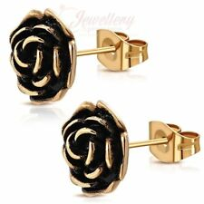 Rose Gold Color Plated Stainless Steel 2-Tone Rose Flower Stud Biker Earrings