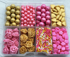 Mixed GOLD & PINK  sprinkle Box cupcake toppers,decorations party
