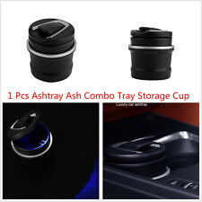 1pcs Car SUV Portable Fireproof Black Plastic Ashtray Ash Combo Tray Storage Cup