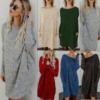 Women Fall Winter Slim Bodycon Round Neck Knitted Sweater Dress Jumper Knitwear