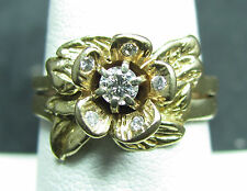 14K YELLOW GOLD DIAMOND FLOWER RING SIZE 8 VINTAGE ESTATE PIECE 699-761F